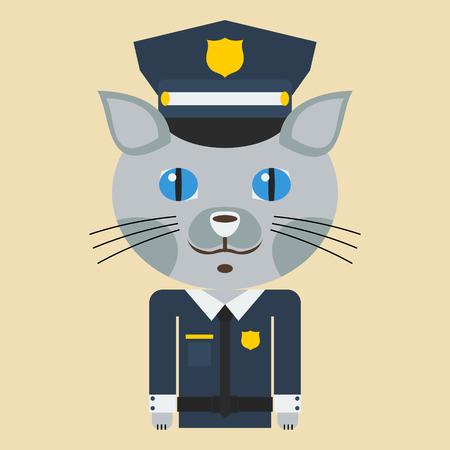 cat suit: Police Cat Illustration