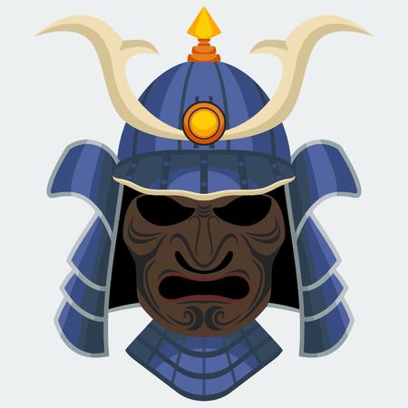 daimyo: Samurai Mask | Editable vector illustration