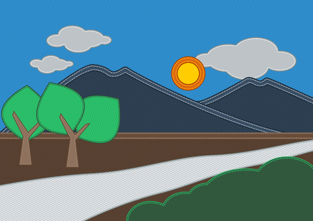 rolling landscape: Jeans Mountain Landscape | Editable countryside vector illustration Illustration