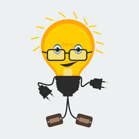 Light Bulb Character | Editable vector character of a light bulb with glasses Stock Illustratie