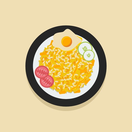 Editable Indonesian Nasi Goreng Vector Illustration