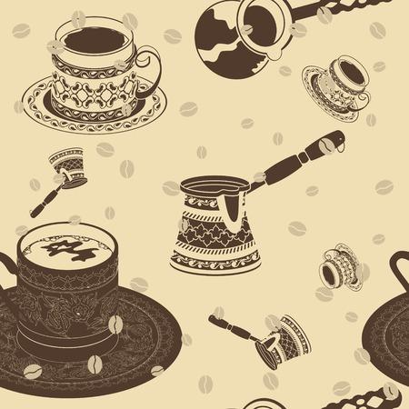 Editable Turkish Coffee Vector Illustration Seamless Pattern