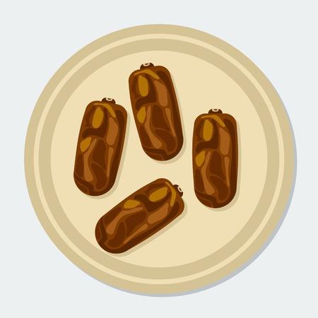 Editable Dates Fruit for Ramadan Iftar Party Vector Illustration Illustration
