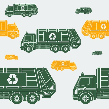 Editable Garbage Truck Vector Illustration Seamless Pattern