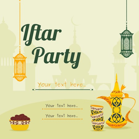 Editable Iftar Party Vector Background Concept for Poster or Invitation Card