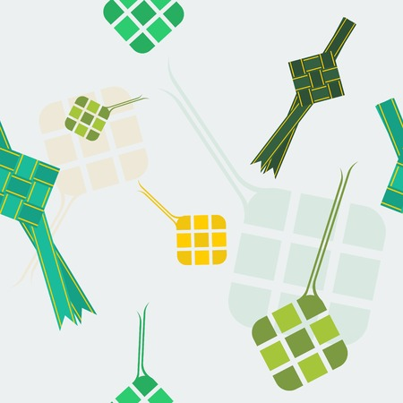 Editable Indonesian or Malaysian Ketupat Vector Illustration Seamless Pattern for Eid Mubarak Concept