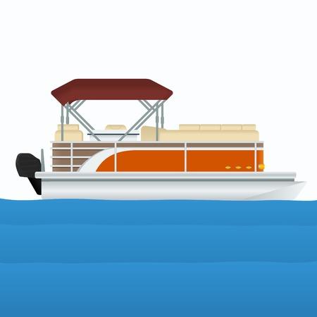 Bewerkbare Pontoonboot Vectorillustratie Stock Illustratie