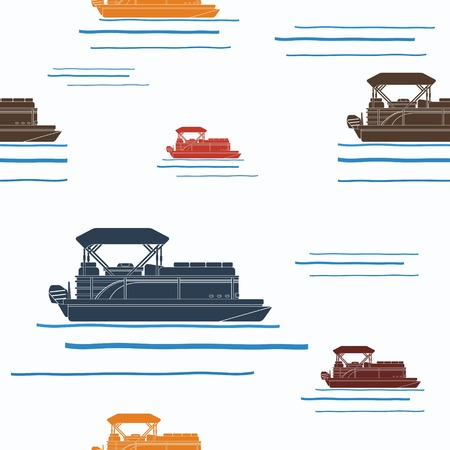 Editable Ponton Boat Illustration Vectorisée Seamless Pattern Vecteurs