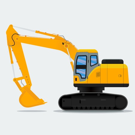 Editable Excavator Vector Illustration for Construction Industry.