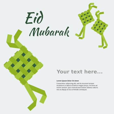 Editable Eid Mubarak Concept with Indonesian or Malaysian Ketupat for Text Background Stock Vector - 80178200