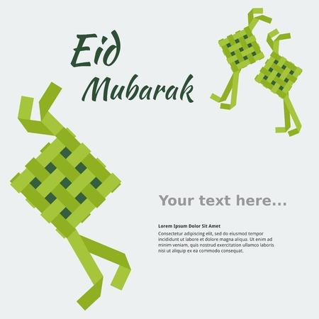Editable Eid Mubarak Concept with Indonesian or Malaysian Ketupat for Text Background