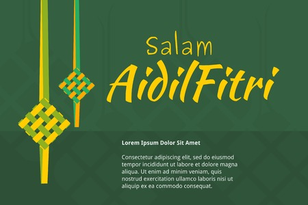 Editable Eid Mubarak Concept with Indonesian or Malaysian Ketupat for Text Background Stock Vector - 80178225