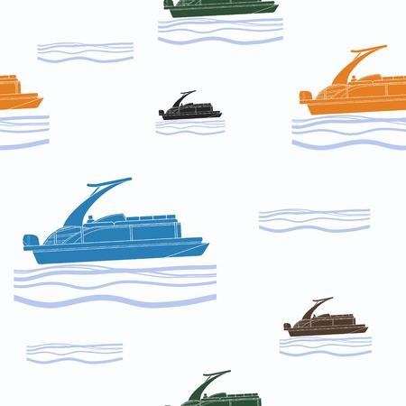 Modèle d'illustration de bateau ponton éditable. Vecteurs