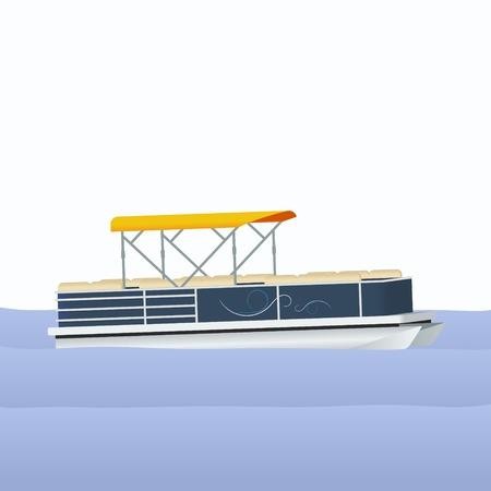 Editable Ponton Boat Illustration Vectorisée