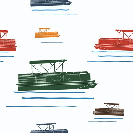 Editable Pontoon Boat Vector Illustration Seamless Pattern 版權商用圖片 - 83105905