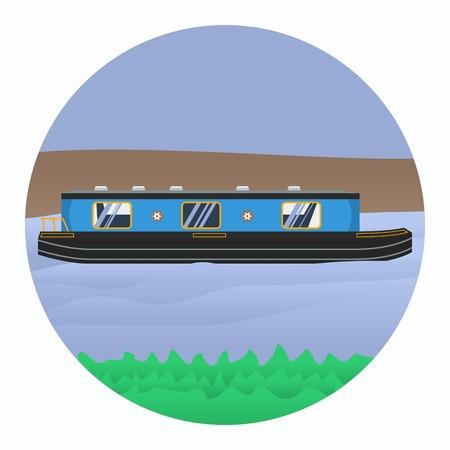 Bewerkbare Kanaalboot Vectorillustratie.