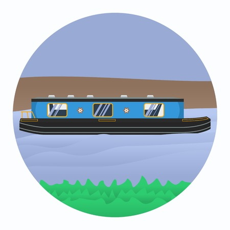 Editable Canal Boat Vector Illustration.