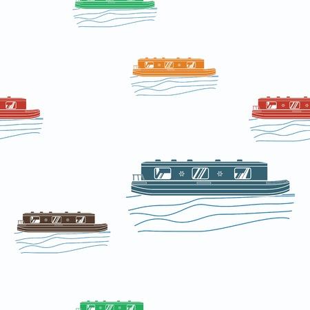 編集可能な運河ボート ベクトル図のシームレスなパターン。  イラスト・ベクター素材