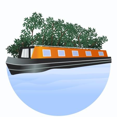 Editable Narrow Boat Vector Illustration