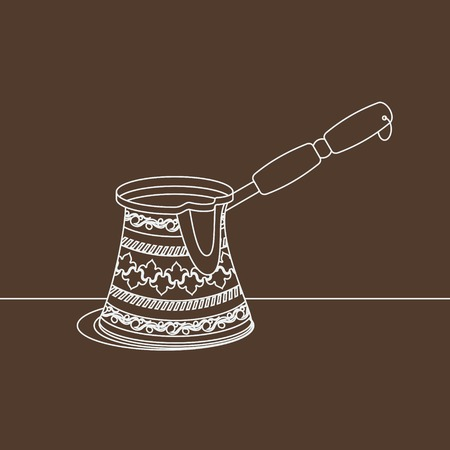 Editable Cezve Turkish Coffee Pot with Outline Style