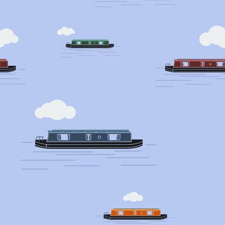 Editable narrow boat illustration pattern.