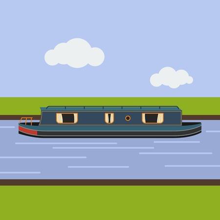 フラット スタイルで編集可能な狭いボートのイラスト。