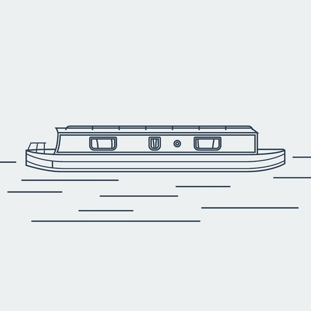 Editable Narrow Boat Vector Illustration in Outline Style Çizim