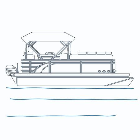Illustration vectorielle de bateau ponton modifiable dans le style de contour Vecteurs
