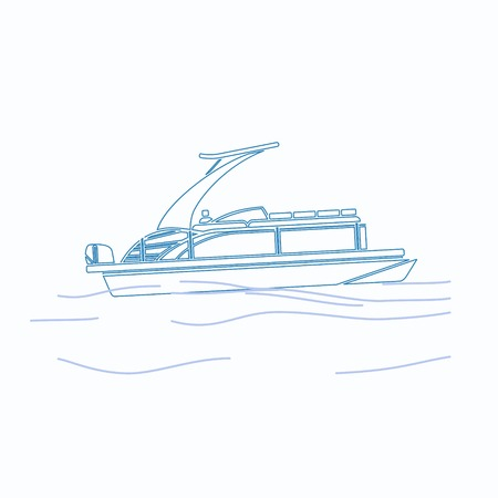 Editable Pontoon Boat Vector Illustration in Outline Style