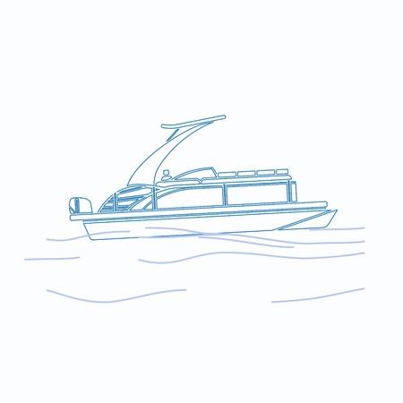 Illustration vectorielle de bateau ponton modifiable dans le style de contour