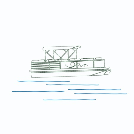 Editable pontoon boat vector illustration in outline style.
