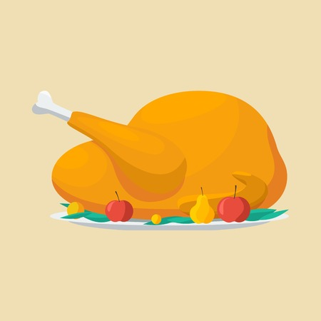 Roasted turkey illustration for Thanksgiving Day.