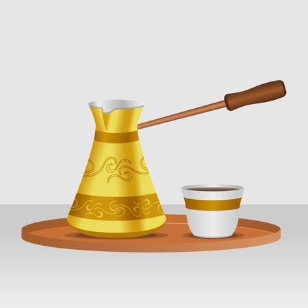Editable Turkish Cezve Coffee Pot and Fincan Cup Vector Illustration