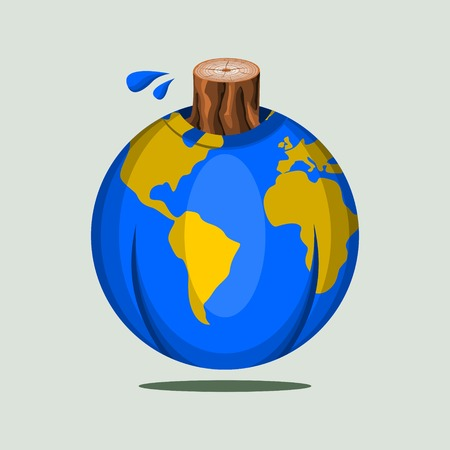 Editable Vector Illustration of Beheaded Tree Trunk on Earth Globe Illustration