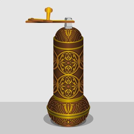 Editable Turkish Kahve DeÄŸirmeni coffee grinder. Vector illustration.