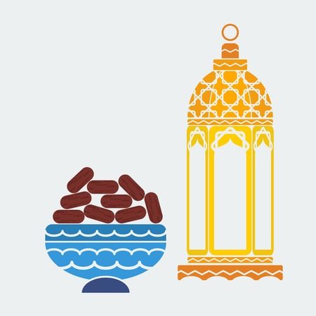 Editable Arabian Lamp and Dates Fruit Vector Illustration in Flat Style for Ramadan Concept