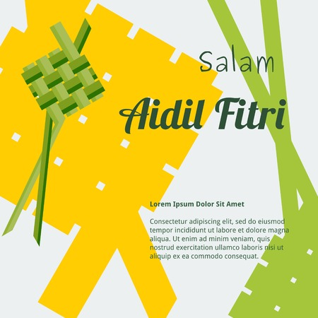 Editable Indonesian or Malaysian Ketupat Vector Illustration for Text Background with Eid Day Concept