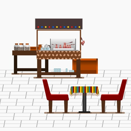 Editable Turkish Coffee Stand on Street with Table and Chairs Vector Illustration