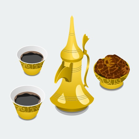 Editable Isolated Arabian Coffee and Dates in a Bowl Vector Illustration Illustration