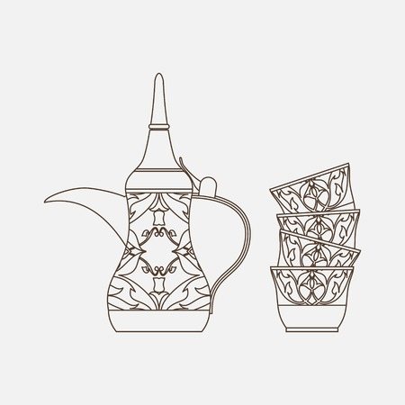 Editable Isolated Side View Arabian Dallah Coffee Pot and Finjan Cups Stack Vector Illustration in Outline Style