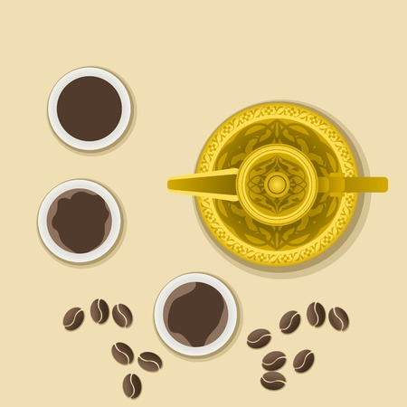 Editable Top View Arabian Coffee with Roasted Beans Vector Illustration
