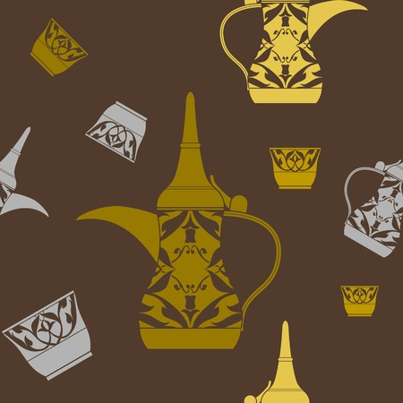 Editable Arabian Dallah Coffee Pot and Finjan Cup Vector Illustration Seamless Pattern Иллюстрация