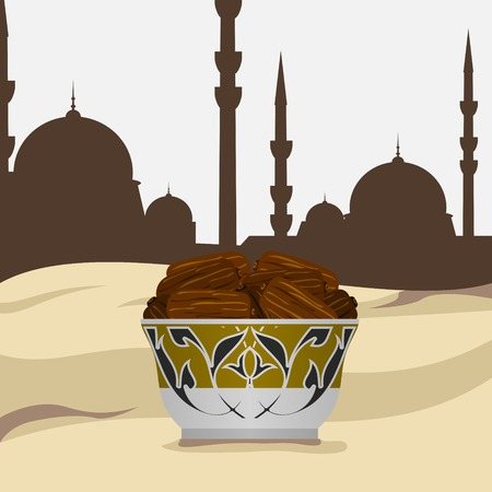 Editable Side View Arabian Dates Fruit on a Patterned Bowl Vector Illustration with Desert and Mosque Silhouette Background Иллюстрация
