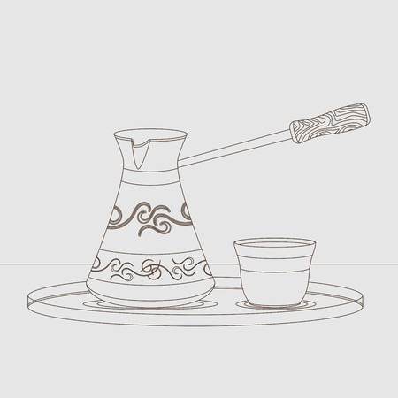 Editable Turkish Cezve Coffee Pot and Fincan Cup in Outline Style Vector Illustration