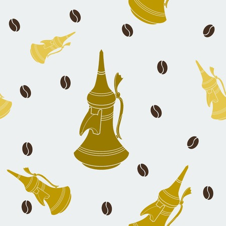 Editable Flat Style Arabian Dallah Coffee Pot and Roasted Beans Vector Illustration Seamless Pattern Иллюстрация