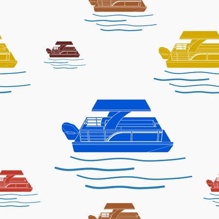 Editable Flat Style Pontoon Boat Vector Illustration Seamless Pattern