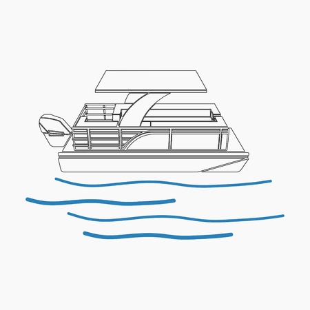 Illustration vectorielle modifiable de bateau ponton dans le style de contour