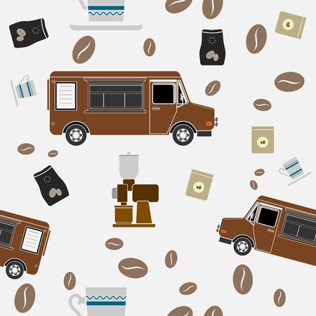 Editable Mobile Coffee Shop Vector Illustration Seamless Pattern in Flat Style