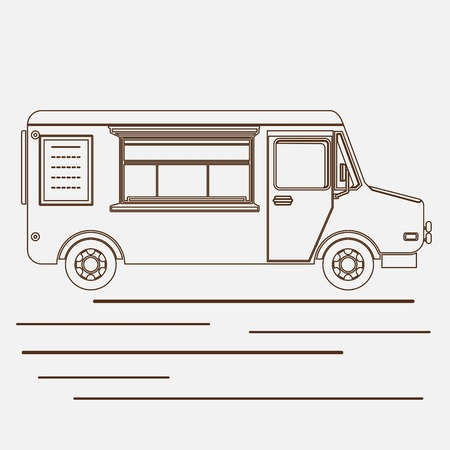 Editable Mobile Food Truck Vector Illustration in Outline Style