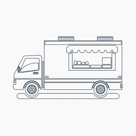 Editable Side View Mobile Food Truck Vector Illustration in Outline Style
